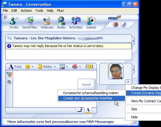 English version of MSN with Dutch texts